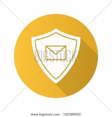 Email security flat design long shadow glyph icon. Sms message inside protection shield. Spam filter protection. Vector silhouette illustration