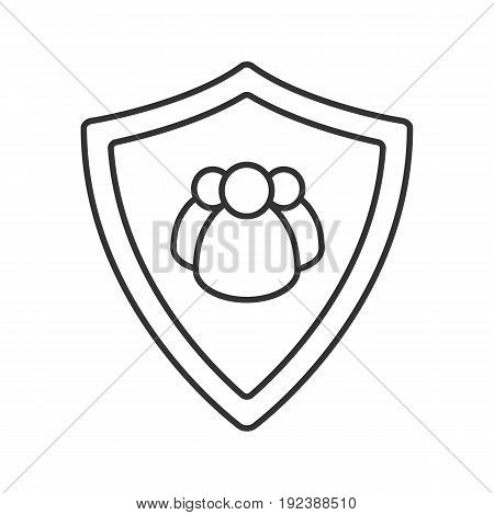 Users protection linear icon. Thin line illustration. Collective security. Protection shield with group of people contour symbol. Vector isolated outline drawing