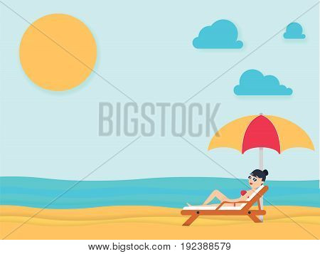 Beautiful Young Woman Tanning, With Sunglasses At The Beach. Summer Holiday.