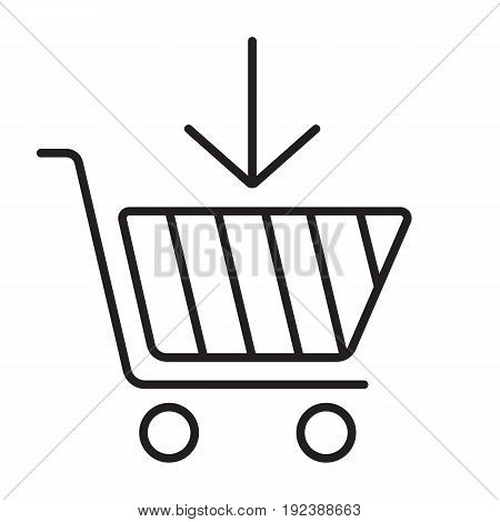 Add to cart linear icon. Thin line illustration. Buy contour symbol with down arrow. Vector isolated outline drawing