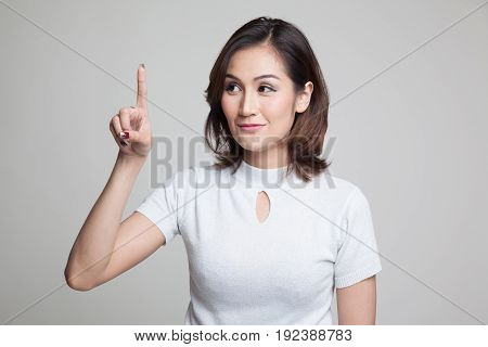 Asian Woman Touching The Screen With Finger.