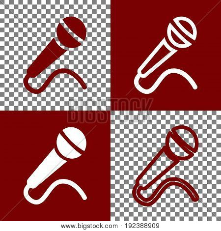 Microphone sign illustration. Vector. Bordo and white icons and line icons on chess board with transparent background.