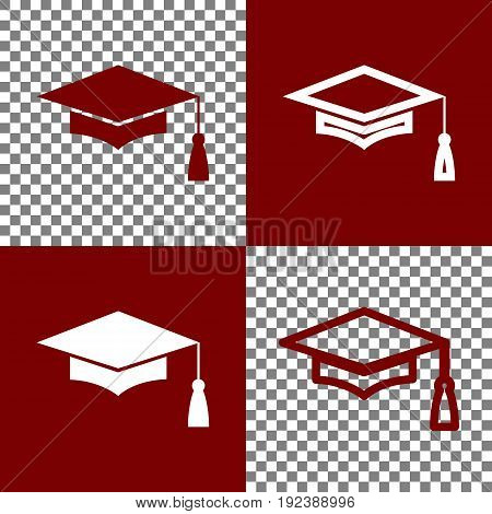 Mortar Board or Graduation Cap, Education symbol. Vector. Bordo and white icons and line icons on chess board with transparent background.