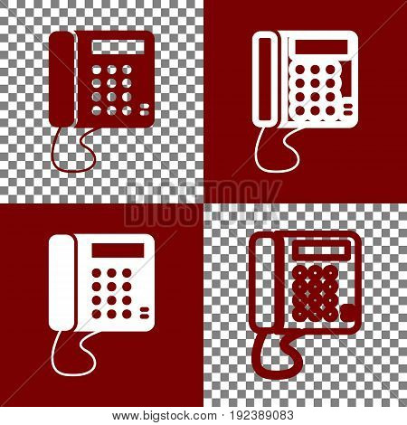 Communication or phone sign. Vector. Bordo and white icons and line icons on chess board with transparent background.