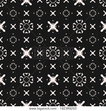 Seamless pattern. Funky minimalist geometric texture. Original dark hipster background with simple minimal shapes, crosses, arrows, circles. Monochrome repeat design for prints, decor, covers. Digital pattern, web pattern, decor pattern.
