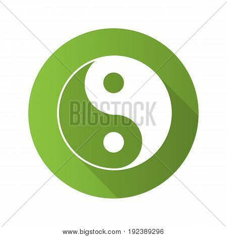 Yin yang flat design long shadow glyph icon. Vector silhouette illustration