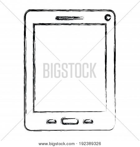 monochrome blurred silhouette of tablet vector illustration