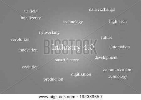 Illustration of Industry 4.0 gray background with white words