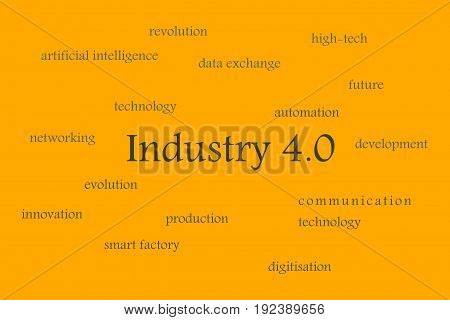 Illustration of Industry 4.0 orange background with gray words