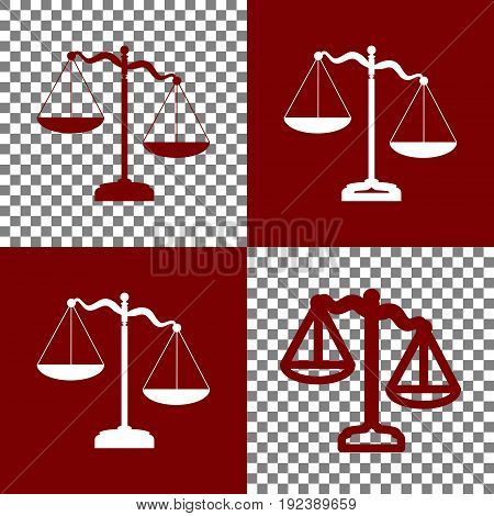 Scales of Justice sign. Vector. Bordo and white icons and line icons on chess board with transparent background.