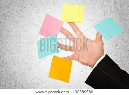 Colored paper hand pieces business success people man view