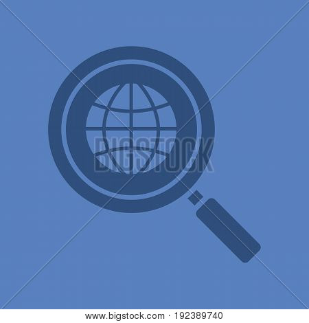 Network search glyph color icon. Silhouette symbol. Magnifying glass with globe. Negative space. Vector isolated illustration