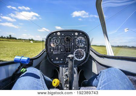 Cockpit od the saiplane sailplane inside. Poland