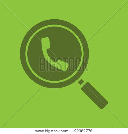 Magnifying glass with handset glyph color icon. Silhouette symbol. Phone contacts search. Negative space. Vector isolated illustration