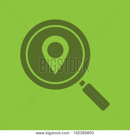 Location search glyph color icon. Silhouette symbol. Magnifying glass with map pinpoint. Negative space. Vector isolated illustration