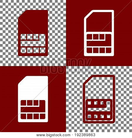 Sim card sign. Vector. Bordo and white icons and line icons on chess board with transparent background.