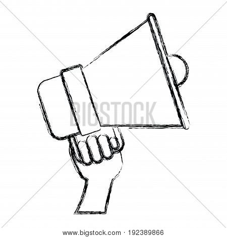 monochrome blurred silhouette of hand holding bullhorn vector illustration