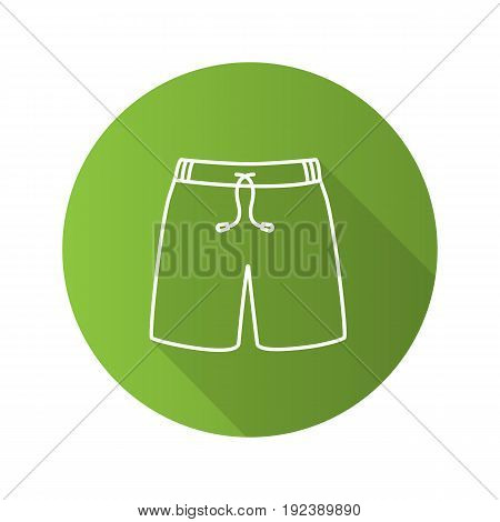 Swimming trunks flat linear long shadow icon. Sport shorts. Vector line symbol