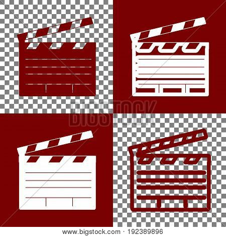 Film clap board cinema sign. Vector. Bordo and white icons and line icons on chess board with transparent background.