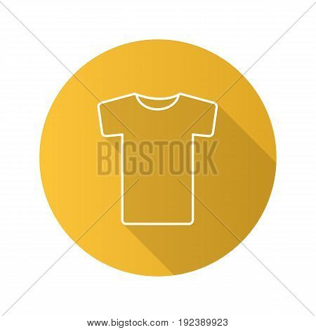 T-shirt flat linear long shadow icon. Vector outline symbol
