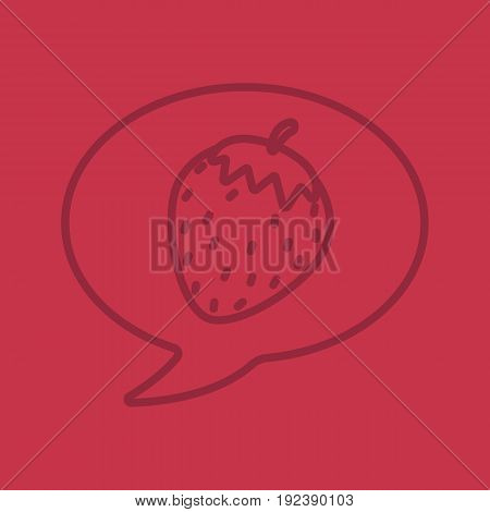 Erotic talk color linear icon. Chat box with strawberry. Thin line outline symbols on color background. Vector illustration