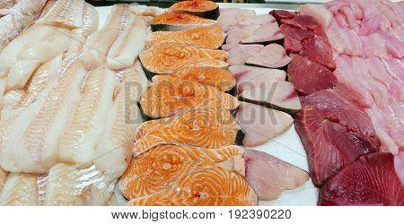 Fish Fish Fillets and Salmon Steaks at Fish Market
