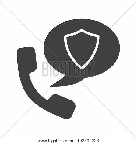 Phone communication security glyph icon. Silhouette symbol. Handset with protection shield inside chat bubble. Negative space. Vector isolated illustration