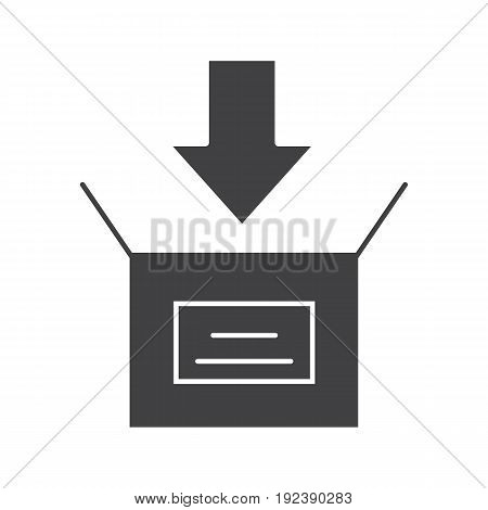 Box packing glyph icon. Silhouette symbol. Post office. Negative space. Vector isolated illustration