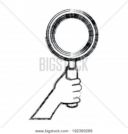 monochrome blurred silhouette of hand holding magnifying glass vector illustration