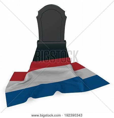 gravestone and flag of the netherlands - 3d rendering