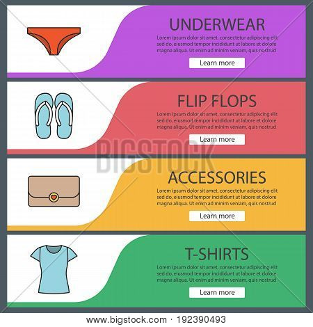 Women's accessories web banner templates set. Panties, flip flops, clutch bag, t-shirt. Website color menu items. Vector headers design concepts