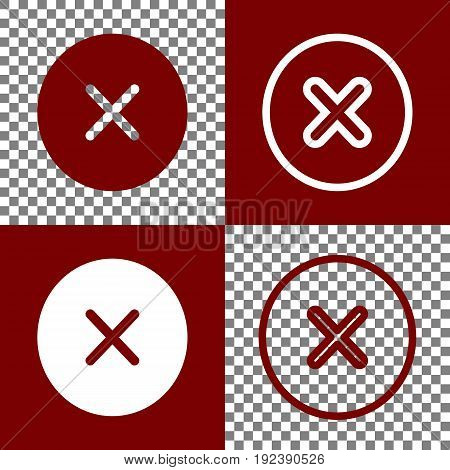 Cross sign illustration. Vector. Bordo and white icons and line icons on chess board with transparent background.