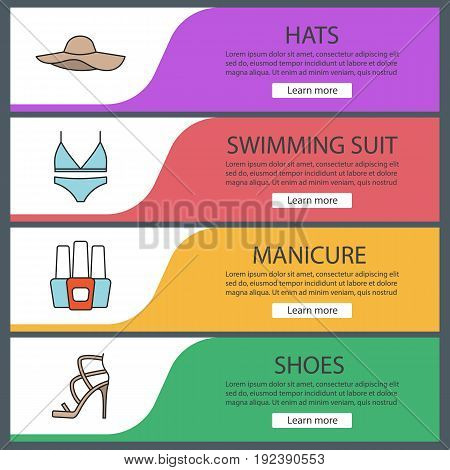 Women's accessories web banner templates set. Beach hat, swimsuit, nail polish bottles, high heel shoe. Website color menu items. Vector headers design concepts