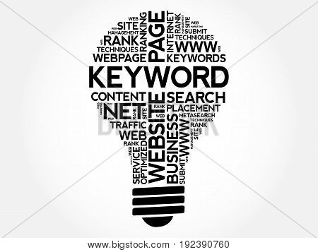 KEYWORD bulb word cloud collage, business concept background