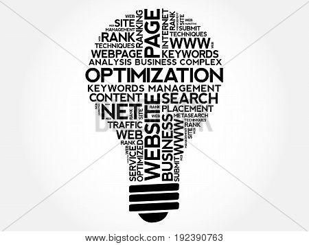 OPTIMIZATION bulb word cloud collage, business concept background
