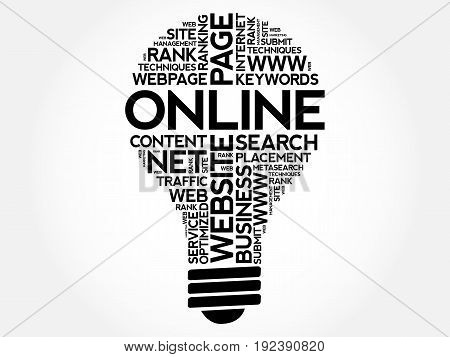 ONLINE bulb word cloud collage , business concept background