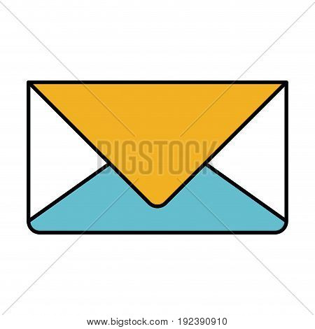 color sections silhouette of envelope mail in closeup vector illustration