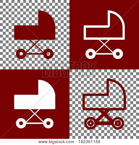 Pram sign illustration. Vector. Bordo and white icons and line icons on chess board with transparent background.