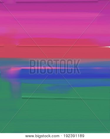 Abstract colorful oil painting on canvas. Abstract image of meadow and field in green, red and blue. Oil color paintings background