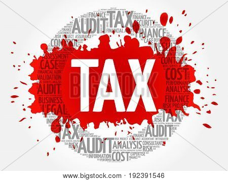 TAX word cloud collage , business concept background
