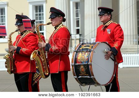 Sandhurst, Uk - June 18 2017: Band Of The Corps Of Royal Engineers, Featuring Saxaphone Players, And