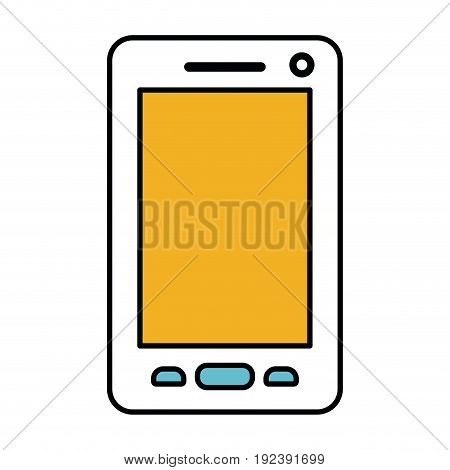 color sections silhouette of smartphone vector illustration