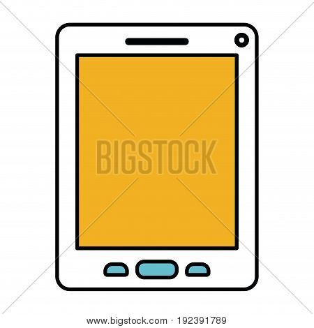 color sections silhouette of tablet device vector illustration
