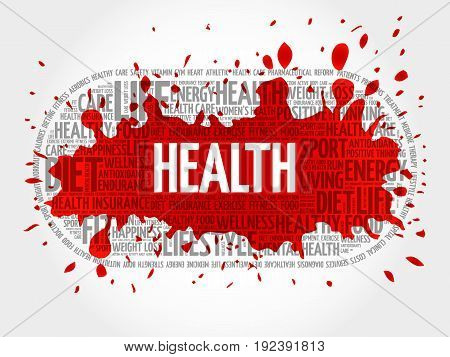 Health word cloud collage , fitness health concept