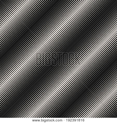 Halftone pattern. Vector monochrome texture different sized, circles & dots, diagonal lines. Morphing texture. Modern abstract background. Seamless pattern. Dark design for prints, covers, textile, fabric, digital, web.