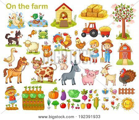 Farm set with animals pets livestock and vegetables on a white background. Young farmers and farming. Vector illustration.