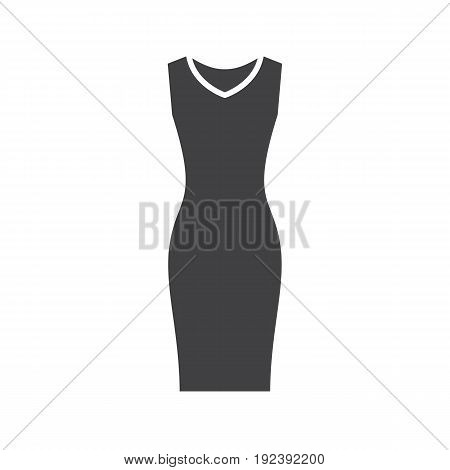 Evening dress glyph icon. Silhouette symbol. Women's sleeveless gown. Negative space. Vector isolated illustration