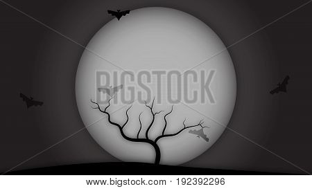 Halloween background bare tree on hill with bats and full moon - copy space for text illustration