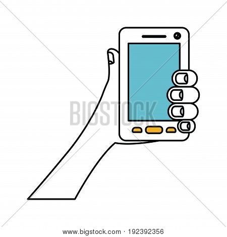 color sections silhouette of hand holding smartphone vector illustration