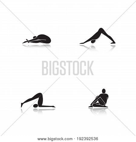 Yoga asanas drop shadow black glyph icons set. Paschimottanasana, halasana, adho mukha svanasana, ardha matsyendrasana yoga positions. Isolated vector illustrations